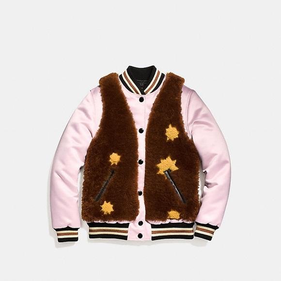 Coach Jackets & Blazers - Coach Sundae Shearling Varsity Jacket
